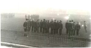 Recruits drilling at Stockport cricket ground