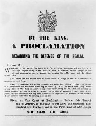 WWI Proclamation Wikimedia