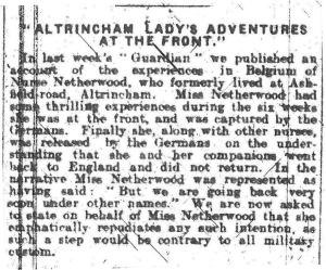 Altrincham and Bowdon Guardian October 1914