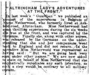 Altrincham and Bowdon Guardian October 1914
