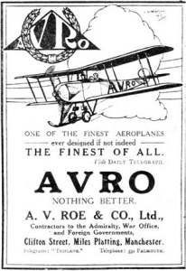 AVRO - Finest Of All advert. http://www.aviationancestry.com/Avro/1910_1929/1910_1929-Company-1914-6.html.