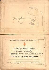Harriet's communion certificate