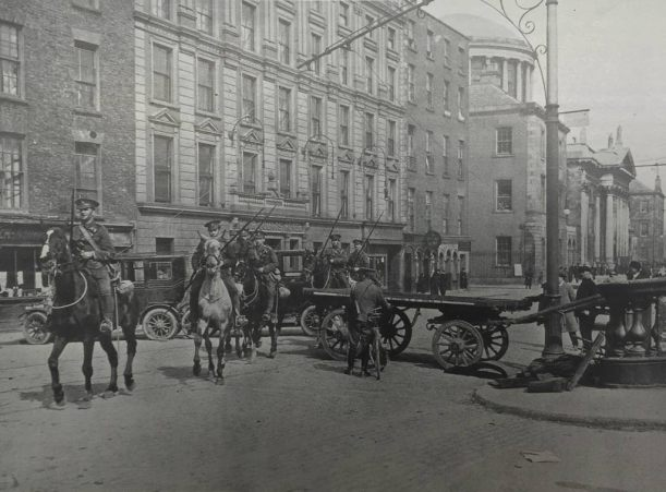 British cavalry troops near the Four Courts in the days after Easter Week. (Image: Dublin Rebellion and Aftermath, Manchester Guardian History of War 1916. Full collection available at the National Library of Ireland)