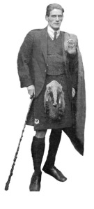 Liam Parr in his thirties in pipers' uniform. The badger's head sporran was characteristic of the James Connolly pipe band, but the photo would have been taken after he had moved to Manchester.