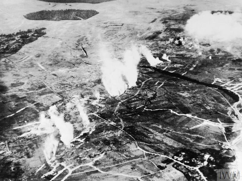 THE BATTLE OF THE SOMME, JULY-NOVEMBER 1916 (Q 55066) Aerial photograph of a British gas attack in progress between Carnoy and Montauban in June 1916, shortly before the Somme offensive. Montauban, then still in German hands, is at the top left of the picture and Carnoy, behind British lines, is at the bottom right. Copyright: © IWM. Original Source: http://www.iwm.org.uk/collections/item/object/205021931