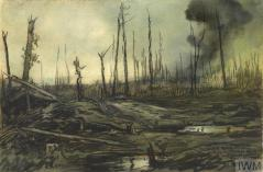 Bernafay Wood, Looking Towards Trônes Wood (Art.IWM ART 4484) image: a view across a desolate and battle-scarred Somme landscape. There are flooded shell holes in the foreground, and clouds of smoke rising from the land in the distance. There are the shattered tree trunks of Bernafay Wood jutting out from the ground, an indication of what used to be a woodland area. Copyright: © IWM. Original Source: http://www.iwm.org.uk/collections/item/object/12083